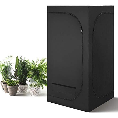 GOPLUS Growzelt mit Reißverschlusstür, Gewächshaus Darkroom, Growbox für Pflanzenzucht, Indoor Gewächszelt, Zuchtschrank Wasserdicht, Growschrank Lichtdicht, Schwarz (80x80x160 cm)