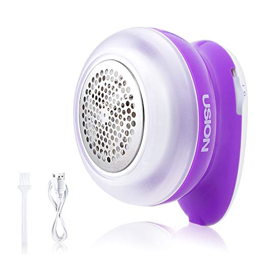 USION Sweater Fabric Shaver, LATEST Electric Lint Pilling Remover for Clothes, Sweater Trimmer Deffuzer Rechargeable, Fast & Durable, Easy Remove Fuzz, Pills, Bobbles-Purple