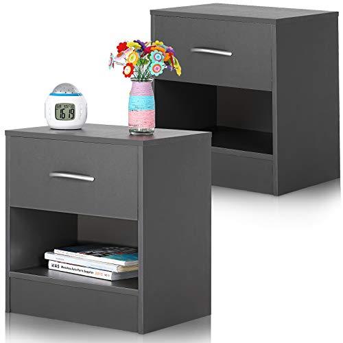 Deuba Nachttisch 2er Set Schublade mit Griff Ablagefach 41x39x28cm Holz Nachtkommode Nachtkonsole Nachtschrank - Grau