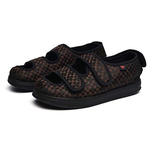 LNLJ Zapatos para artritis con pies anchos para diabéticos, zapatos hinchados con pies anchos, zapatos de velcro medianos de edad y zapatos de velcro antiguos, talla 44, unisex, para adultos