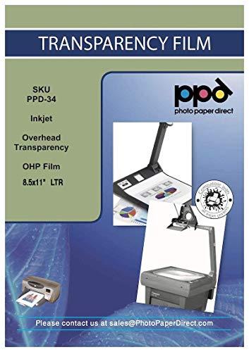 PPD Película Transparente para retroproyectores (con franja removible) para impresiones de inyección de tinta A4 X 100 hojas PPD-34-100