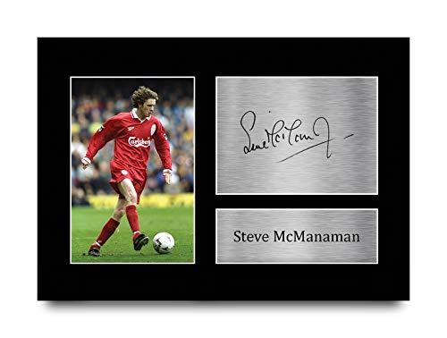 HWC Trading Foto de autógrafo firmada A4 de Steve McManaman Liverpool Gifts para fans y seguidores, tamaño A4