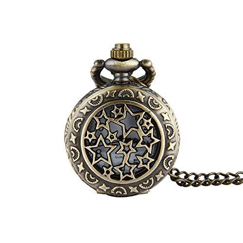 DHTOMC Pocket Horloge Vintage Brons Trompet Volledige Ster Retro Pocket Horloge Ster Pocket Horloge Trompet Met Ketting Voor Mannen Gift voor Verjaardag Verjaardag Kerstmis Vader