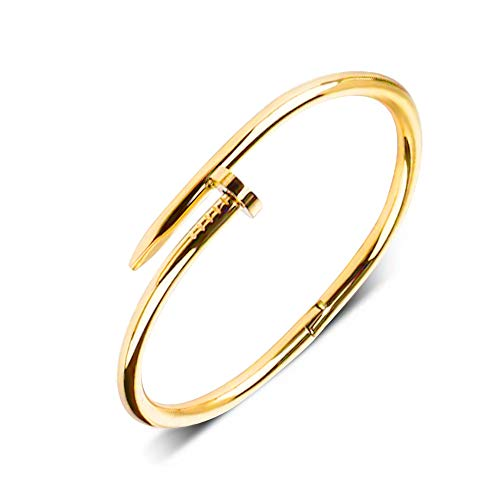 Wikimiu Armband Damen Herren, Nägel Design Armband, Unisex Einfacher Persönlichkeit Schmuck, perfektes Geschenk zum Geburtstag Valentinstag (Gold)