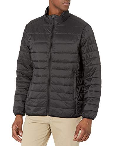 Amazon Essentials Men's Lightweight Water-Resistant Packable Puffer Jacket, Black, Medium
