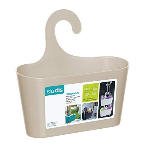 stardis Cesta de ducha beige con gancho para colgar, estantería de baño para colgar, color crema, 242017
