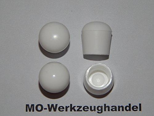 MO-Werkzeughandel ® 4 Stück Stuhlbeinkappen Innendurchmesser: 10 mm, Farbe: Weiß, Rund, Gleitkappe zum Aufstecken, Rohrkappen, aus Kunststoff Weiss