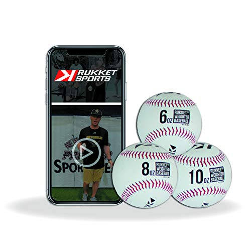 Rukket Weighted Pitching Baseballs, Progression Throwing Balls for Training, Heavy Softballs for Hitting, Batting & Fielding Practice (3 Pack)