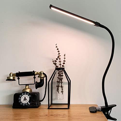 LED KlemmleuchteDimmbar Leselampe klemmen Bett Buchleselampe Schreibtischlampe mit 3 Modi (10 Helligkeitsstufen), USB-Leselampe mit Augenschutz, 360 ° Flexibler Schwanenhals Clip Tischlampe (Schwarz)