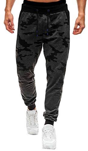Calça de moletom masculina Jofemuho aconchegante Ombre camuflada casual com cordão, Dark Grey, Medium
