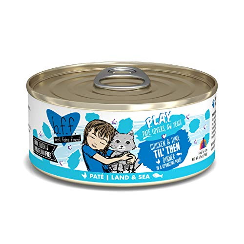 Weruva B.F.F. Play - Best Feline Friend Paté Lovers, Aw Yeah!, Chicken & Tuna Til' Then with Chicken & Tuna, 5.5oz Can (Pack of 8), brown