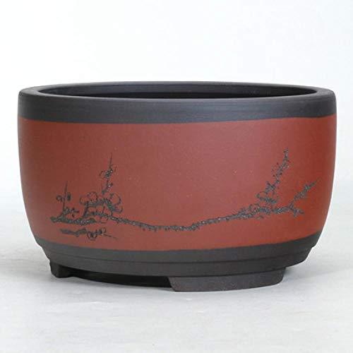 Plant pots planters CDFZS Bonsai Flowerpot Ceramic Round Large Medium and Small Bonsai Pot Green Plant Pot Drum-Shaped Chinese Style Medium 01style