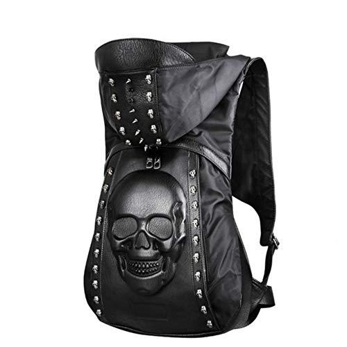 Persönlichkeit 3D Schädel Leder Rucksack Nieten Schädel Rucksack mit Kapuze Kappe Bekleidung Tasche Cross Bags