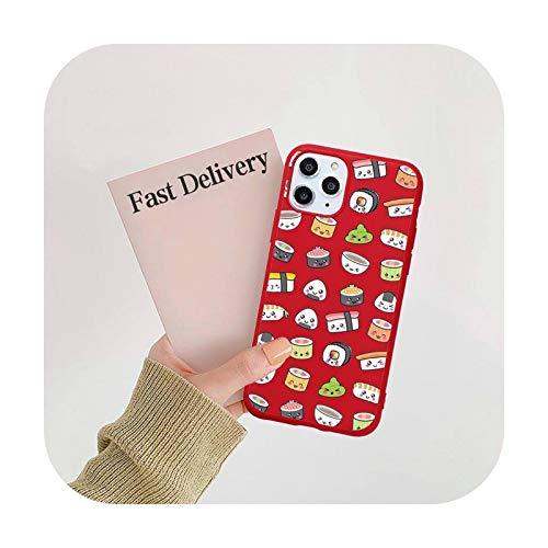 Cartoon sushi lindo teléfono caso caramelo color para iPhone 11 12 mini pro XS MAX 8 7 6 6S Plus X SE 2020 XR-a6-7plus u 8plus