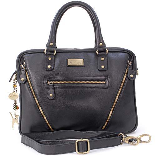 Catwalk Collection Handbags - Leder - Schultasche/Arbeitstasche/Aktentasche für Damen - Laptop/iPad - Vintage Leder - SIENNA - Schwarz
