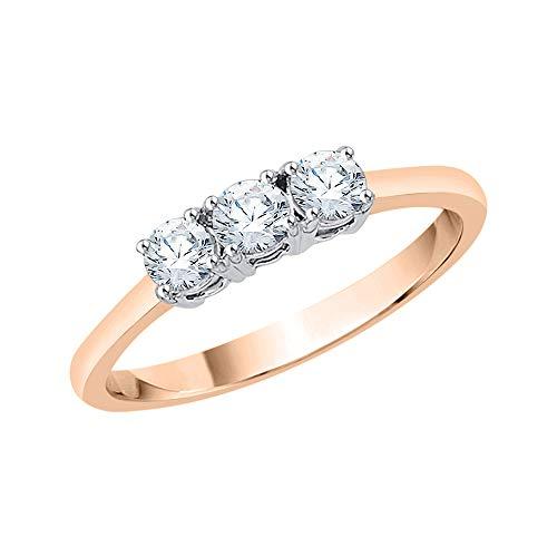 KATARINA Anillo de compromiso de diamantes de tres piedras en oro de 14 k (1/2 cttw, G-H, I2-I3)