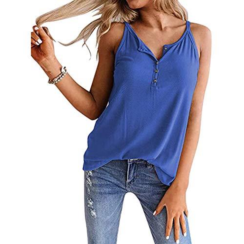 Elegante camiseta de tirantes para mujer, lisa, elegante, para verano, botones superiores, básicos, cuello en V, para adolescentes y niñas B-azul. M