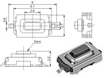 10 Stück SMD Subminiatur-Taster für Auto-FFB und Garagenfernbedienung RoHS (elpohl®)
