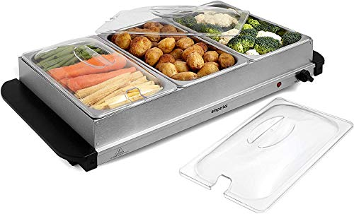 Emperial 3 Tray Food Warmer Buffet Server – 3 x 2.5L Large Pans Keep Food & Plates Hot for Longer – More Compact Than A Hostess Trolley – 300W Electric Adjustable Temperature Control