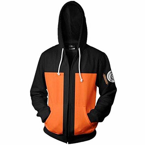 CHENMA Herren Naruto Kakashi Langärmelige Kapuzenjacke mit durchgehendem Reißverschluss und Kapuze(Orange, Etikett M/EU S)