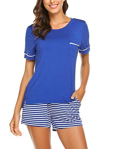 UNibelle Damen Schlafanzug Gestreift Pyjama sommerlicher Nachthemd mit Taschen, Königsblau, S