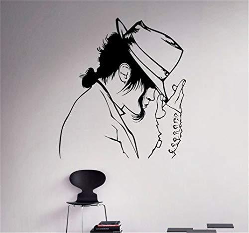 wandaufkleber Mode Michael Jackson Pattern mit seinem Hut Dacing The King Of Pop