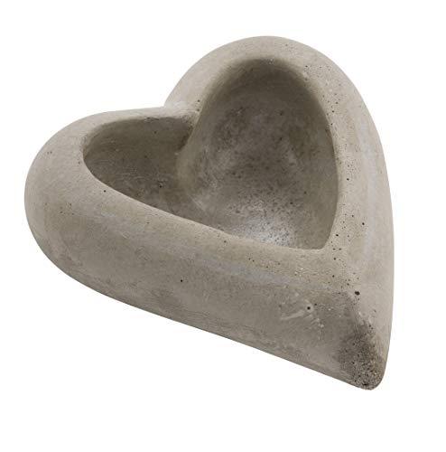 Spetebo Keramik Herz grau - Dekoherz in Beton Optik - Herz Schale Pflanzschale Tischdeko