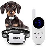 eXuby - Tiny Shock Collar for Small Dogs 5-15lbs - Smallest Collar on The Market - Sound, Vibration, & Shock - 9 Intensity Levels - Pocket-Size Remote - Long Battery Life - Water-Resistant - White