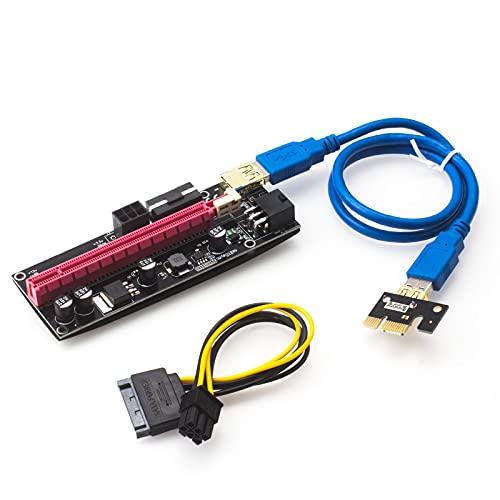 HotTopStar PCIE Riser VER 009S 16X a 1X (Dual-6pin / MOLEX) Tarjeta de expansión gráfica para GPU Mining Bitcoin, cable USB 3.0 60 cm, cable de alimentación PCI-E a SATA 6 pines, 1 paquete