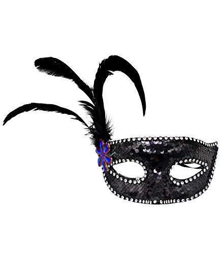 Mscara de Carnaval de Pluma Colombina, Antifaz Veneciana con Brillantina y Plumas Suaves, Disfraz de Fiesta (Negro)