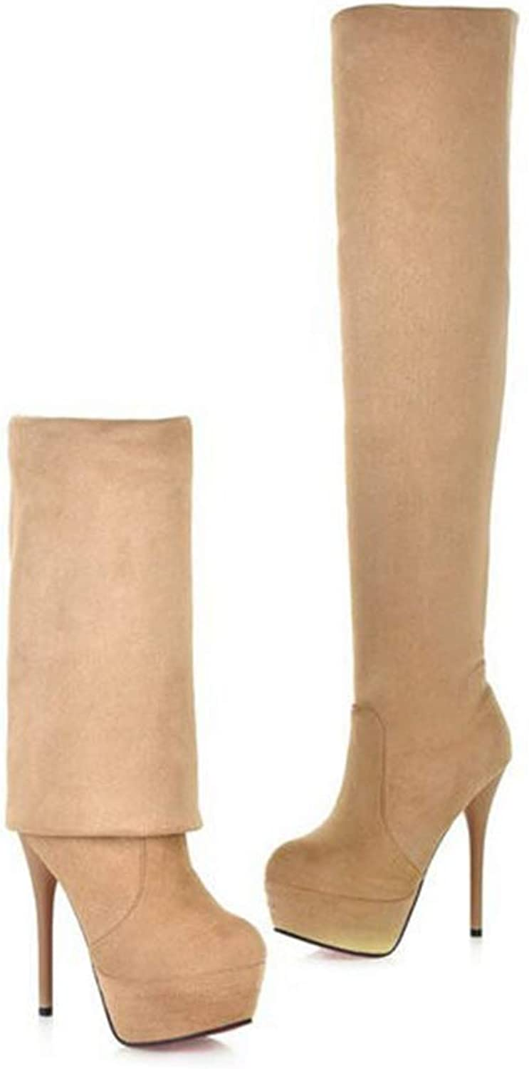 Hoxekle Black Suede Over The Knee Boots Platform High Heel Boots for Women Winter Stiletto Heels Thigh High Boots