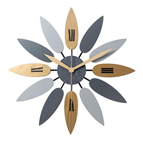 Creatieve Bladvorm Design Wandklok - Scandinavische Stijl Stille Wandklok Voor Woonkamer Slaapkamer Office Decor, 52 * 52Cm