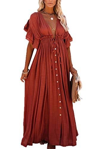 LikeJump Damen Bohemian Cardigan Kimono Badeanzüge Kaftan Bikini Cover Ups Langes Kleid Maxi Tops