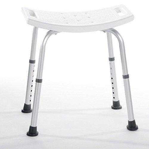 Rehaforum Medical Duschbank, Duschhilfe, Duschstuhl, Sitzfläche 50 x 44 cm, Sitzhöhe verstellbar 35 - 53 cm, weiß silber