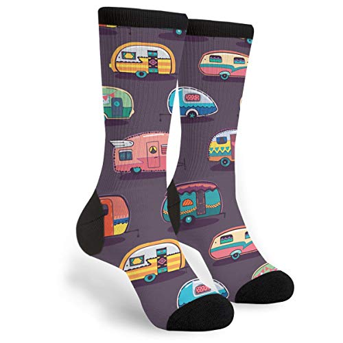 Product Image 1: Happy Camper Unisex Adult Fun Cool 3D Print Colorful Athletic Sport Novelty Crew Tube Socks