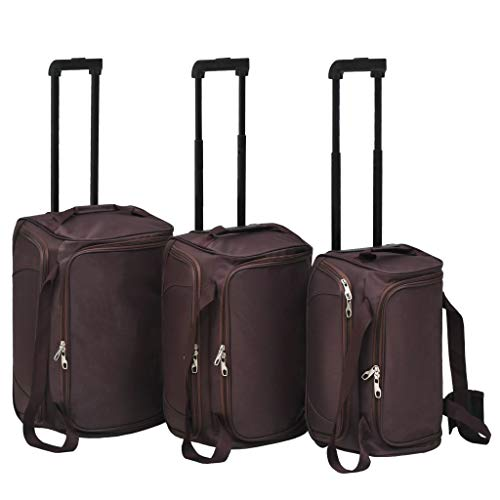 Koffer-Set, 3-teilig, weicher Trolley mit 2 Rollen, Handgepäck, Reisetasche, Kaffee (Braun) - SOULONGfgtinsbmw3