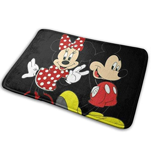 Felpudo Alfombra Suave Alfombra de Entrada Elegante diseño Love Minnie & Mickey para Patio, Puerta de Entrada, baño, balcón
