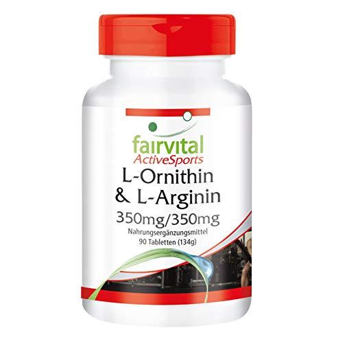 L-Ornithin & L-Arginin 350mg/350mg - HOCHDOSIERT - VEGAN - 90 Tabletten - Aminosäuren