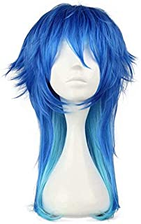 Middle Length Gradient Blue Fluffy Boy Teens Male Anime Festival Cosplay Costume Synthetic Halloween Wigs