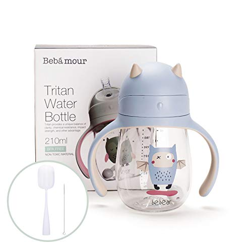 Bebamour Baby Sippy Cup with Straw For Baby and Toddler with Double Handle BPA Free,No Spill Safe Learner Bottle With Bottle Brush & Straw Cleaner Set(210 ML,Blue)