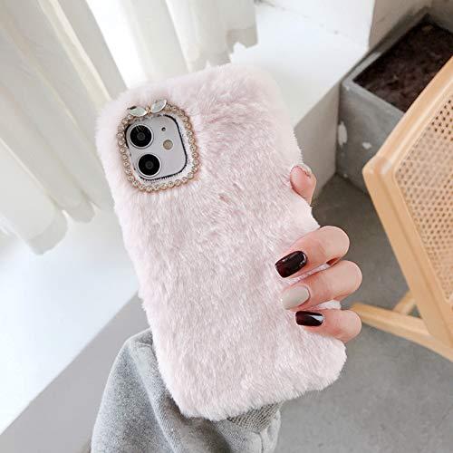 Funda Compatible con iPhone 12 Pro MAX Carcasa de Felpa para Niñas con Lazo de Diamantes de Imitación Back Cover Peludo y Esponjoso de Silicona Suave Anti Choque,Rosado,XS