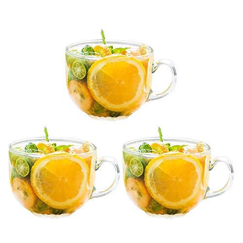 Juego de 3 tazas de cristal transparentes para café, té, leche y desayuno, 470 ml