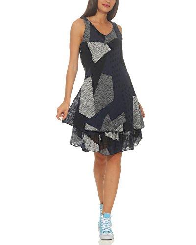 ZARMEXX Damen Sommerkleid Strand Kleid Patchwork-Print Ärmellos doppellagig A-Linie Navy One Size (36-40)