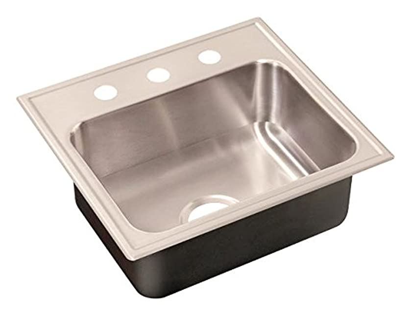Just Manufacturing SL-2125-B-GR-3 Single bowl drop-in sink. Seamless die-drawn of 20 gauge stainless steel. 3-faucet holes,