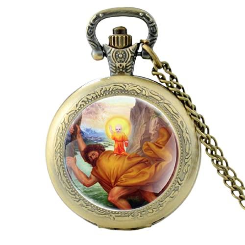 San Cristóbal cruza el río con Jesús en su patrón reloj de bolsillo de cuarzo hombres mujeres colgante collar horas reloj