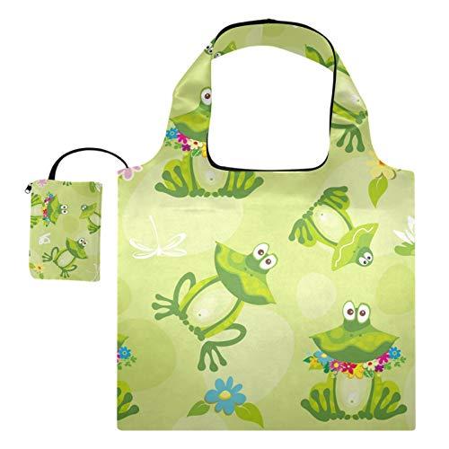 XiangHeFu Totes de regalo reutilizables para comestibles Bolsas de compras plegables de gran capacidad, sapos de ranas y flores sobre fondo verde