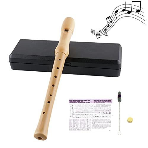 VLVEE Flauta Dulce Soprano en C Flauta Dulce de Arce de 3 Partes Con Digitación Alemana Con Tabla de Digitación, Grasa Para Juntas, Estuche Rígido y Juego de Limpieza