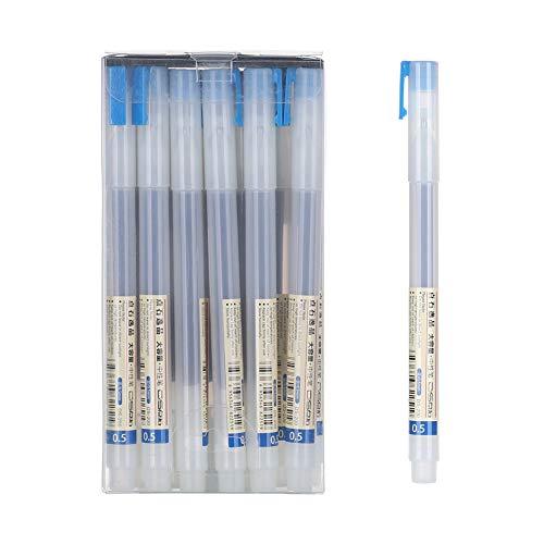 6 bolígrafos de gel transparente esmerilado negro y azul para hacer tinta en la escuela, para la oficina, estilo MUJI, color azul