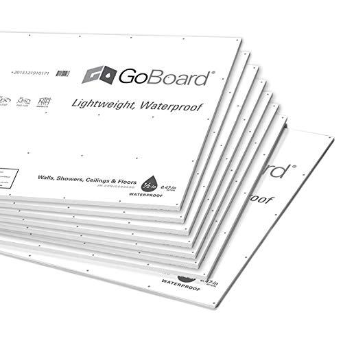 Backer Board Shower Wall Kit - Shower Surround Walls - 100% Waterproof GoBoard Install Kit (8 Sheets Covers 120SF, 6 Tubes Marine Grade ShowerSeal Polyurethane Sealant, 2.5lb. Screws)
