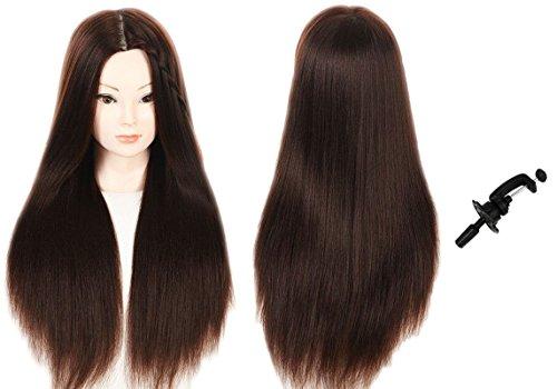 Maniquí de la cabeza 100% sintético pelo peluquería formación cabeza muñeca maniquí cosmetología cabeza (abrazadera de mesa soporte incluido)